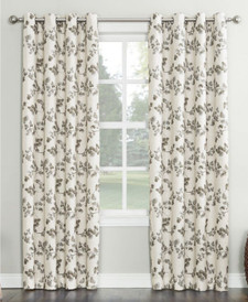 Nicolette Floral Print Lien Texture Curtain Panel