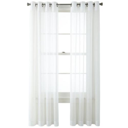 Kramer White Sheer Grommet Top Single Curtain Panel