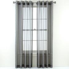 Tiles Sheer Charcoal Grommet Top Curtain Panel