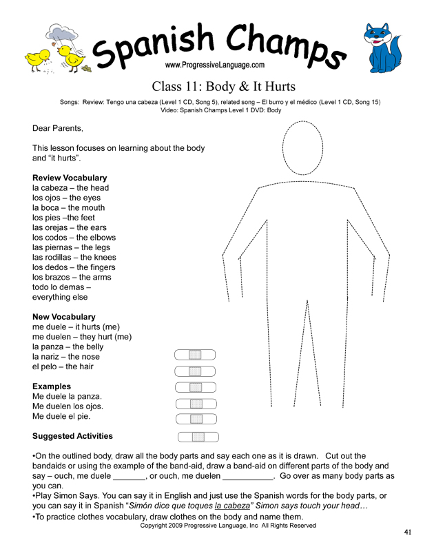 Spanish Activity teaches body vocabulary