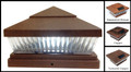 5 x 5 or 6 x 6 Premium PVC Vinyl Fence Copper Post Cap Solar Lights 5 LEDs (PF87C)