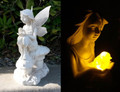 Solar Fairy/Angel Statue with Amber LED Bird Light and Clear/Frosted Wings