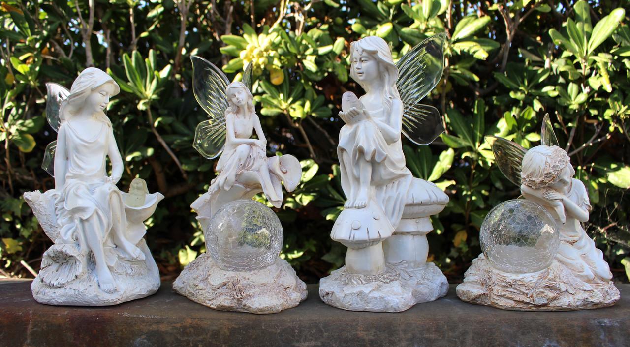 Garden Statue Fairy: 2-PK Garden Decor Solar Fairy/Angel Statue Sculpture Light