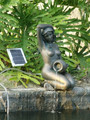 Bronze Lady Kneeling Pond Spitter Statue With 2W Solar Water Pump Kit