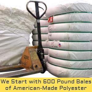 Big Plush uses premium American-made bales of polyester fiberfill that weigh over 600 pounds each, and then blends it perfectly for premium softness, weight and density.