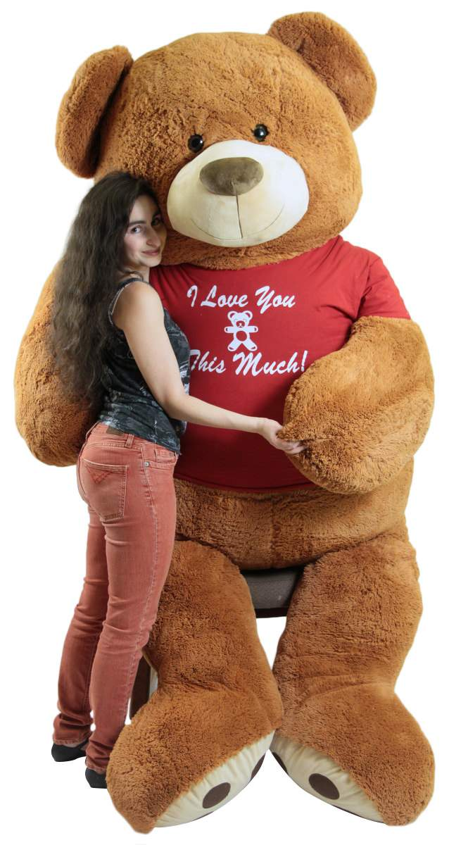 8 foot Valentines Day teddy bear wears romantic t-shirt that says I Love You This Much