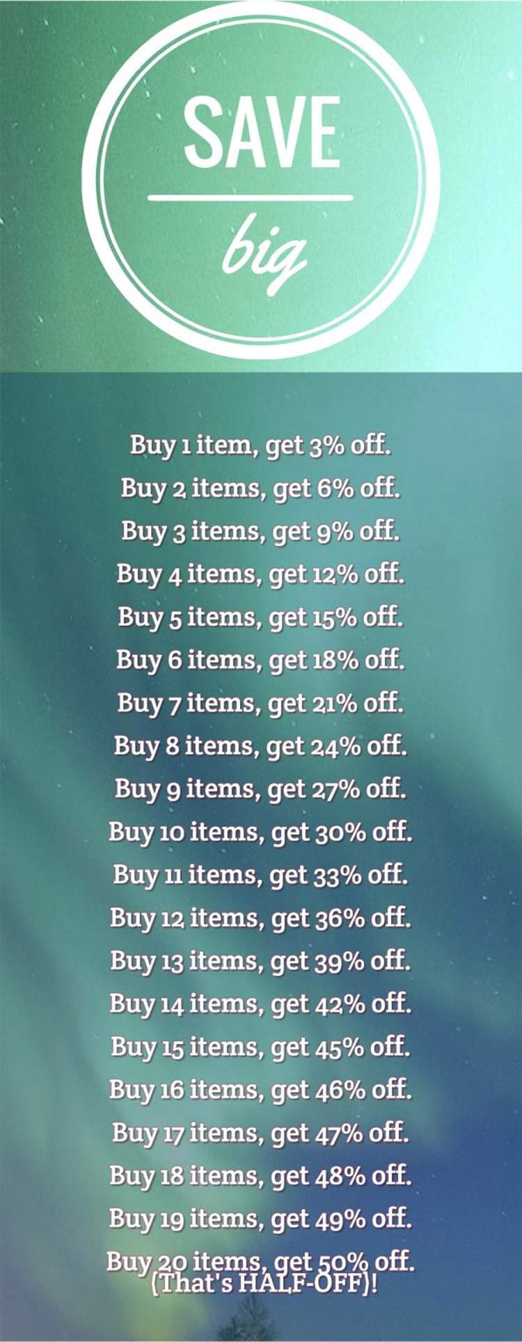 The more you buy, the more you save.