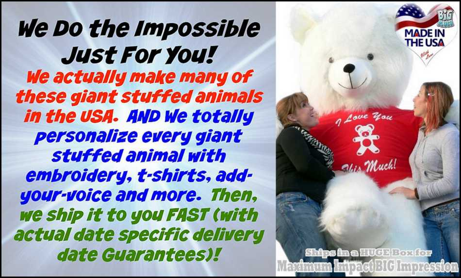 BigPlush.com does the impossible so you can create your own custom personalized giant stuffed animal masterpiece!