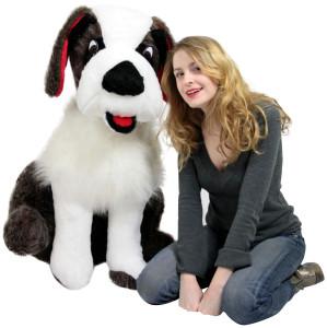American Made Giant Stuffed Saint Bernard 38 Inches Tall Big Plush Dog More Than Three Feet Tall Made in the USA America