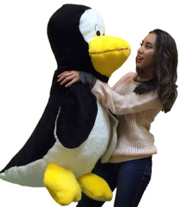 American Made Giant Stuffed Penguin 40 Inches Tall Whimsical Soft Oversized Plush Bird