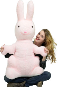 American Made Giant Stuffed Bunny Pink Soft 42 Inch Big Plush Rabbit