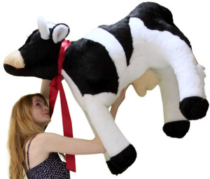 American Made Giant Stuffed Cow 3 and a Half Feet Long Big Plush Farm Animal Soft Made in the USA America