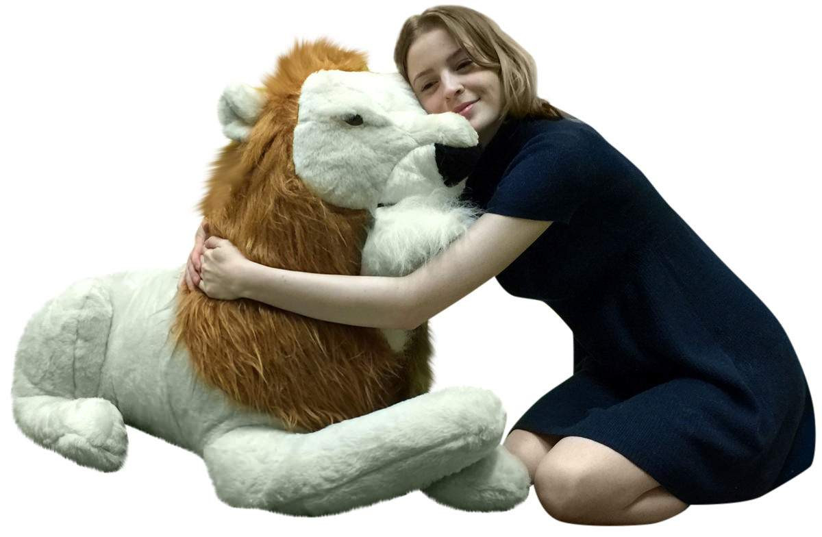 american made giant stuffed lion 4 feet long soft huge stuffed animal big plush personalized. Black Bedroom Furniture Sets. Home Design Ideas