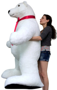 American Made Giant Stuffed Polar Bear 5 Feet Tall and Almost 3 Feet Wide Huge Stuffed Animal Made in the USA America