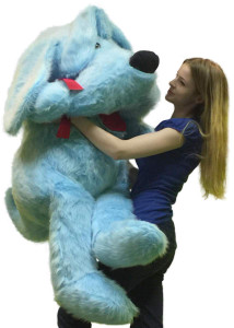 American Made Giant Stuffed Blue Dog 5 Foot Soft Stuffed Puppy 60 inches Weighs 15 Pounds