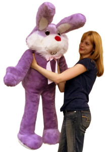 American Made Giant Stuffed Bunny 50 Inch Soft Purple Big Plush Rabbit Made in USA