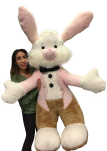 American Made Giant Stuffed Easter Bunny 65 inches Big Plush Rabbit in Tuxedo Made in USA