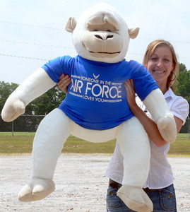 American Made U.S. Air Force Giant Stuffed White Gorilla Monkey wearing Blue T-Shirt SOMEONE IN THE AIR FORCE LOVES YOU