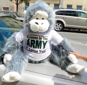 Big Plush Gray and White Gorilla, Wears T-shirt Somebody in the Army Loves You