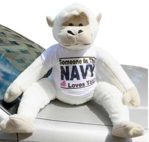 American Made Giant White Gorilla Wears Removable Tshirt SOMEONE IN THE NAVY LOVES YOU