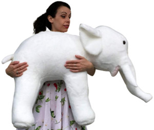 American Made Giant Stuffed White Elephant 3 Feet Long Soft Large Stuffed Animal
