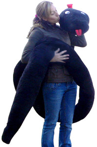 American Made Giant Stuffed Snake 18 Feet Long Big Plush Black Serpent Made in the USA America