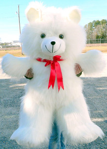 American Made Giant Teddy Bear 4 Foot White 48 Inches Soft Long Fur Made in USA
