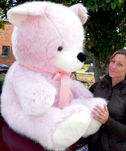 American Made Giant Pink Teddy Bear 54 Inches Soft Stuffed Animal Made in USA America