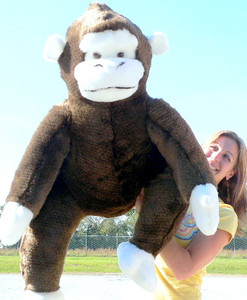 American Made Giant Stuffed Monkey 40 Inches From Head to Toe Soft Big Plush Brown Gorilla Made in the USA America
