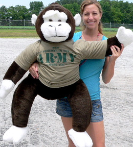American Made U.S. Army Love Gorilla 40 inches Giant Stuffed Monkey Wears Green T-shirt that says SOMEONE IN THE ARMY LOVES YOU