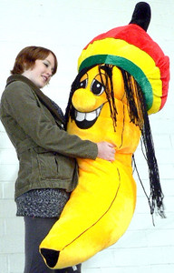 Giant Stuffed Rasta Banana 66 Inches Huge Five and a Half Feet Tall Big Plush Jamaican Dreadlock Rastafarian Banana