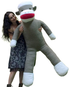 72 Inch American Made Giant Plush Sock Monkey 6 Feet Tall Soft and Huge Stuffed Animal Made in USA