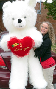 Giant 6 Foot Teddy Bear White With I Love You Heart Soft 72 Inches Made in USA