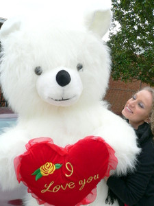 6 Foot Teddy Bear Giant White Teddybear With I Love You Heart Soft 72 Inch Made in USA