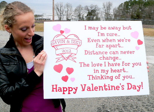 giant personalized valentine card sign is 2 feet long with 3 square