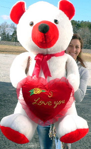 I Love You 5 Foot Giant Teddy Bear Soft Red and White 60 Inch Big Plush Valentine