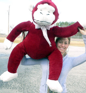 American Made Giant Stuffed Monkey 40-inches Red color Smiling Gorilla Happy Ape Made In USA America