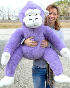 Giant 40-inch Purple Stuffed Monkey Gorilla Ape - Purple Lavender Violet Color Fur - Made In the USA