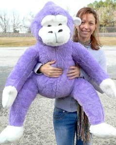 Giant 40-inch Purple Stuffed Monkey Gorilla Ape - Purple Lavender Violet Color Fur - Made In the USA