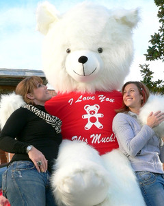 American Made 8 Foot Soft White Giant Teddy Bear Tshirt Says I Love You THIS Much
