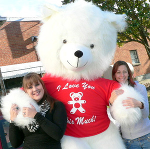 American Made 8 Foot Giant Teddy Bear 96 Inch Soft White, Tshirt Says I Love You THIS Much