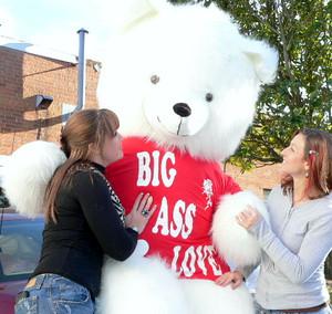 American Made 8 Foot Soft White Giant Teddy Bear Tshirt Says BIG ASS LOVE