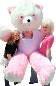 American Made 8 Foot Giant Teddy Bear Pink Panda Soft 96 Inches Wears T-Shirt WORLDS GREATEST MOM