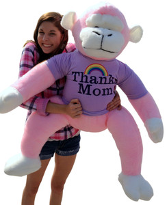 3 Feet Tall Giant Stuffed Pink Monkey Wears THANKS MOM Purple Tshirt with Image of a Rainbow - 36 inches tall Smiling Primate Plush - Perfect Gift for Mother's Day - or Any Day to Thank Mom - MADE IN THE USA