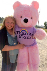 Giant Pink Teddy Bear 45 Inches Soft, Wears Thanks Mom T-shirt Made in USA