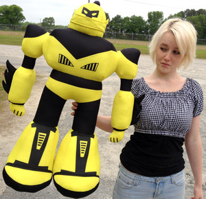 Giant Stuffed Robot is 3 Feet Tall Big Plush Soft - Stuffed Non-Mechanical Yellow Color Plush Toy