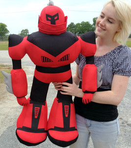 Giant Stuffed Robot is 3 Feet Tall Big Plush Soft - Stuffed Non-Mechanical Red Color Plush Toy