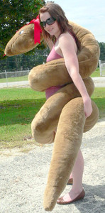 American Made Giant Stuffed Snake 18 Feet Long Big Plush Brown Serpent Made in the USA America