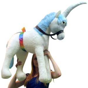 Giant Stuffed Unicorn Plush 3 Feet Long  with Blue Color Mane Made in America
