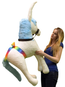American Made Giant Stuffed Unicorn 3 Foot Soft Plush with Blue Mane Made in USA